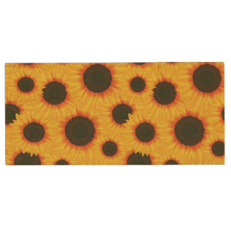 Spring colorful pattern sunflower wood USB flash drive