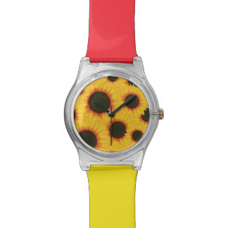 Spring colorful pattern sunflower wrist watch
