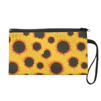 Spring colorful pattern sunflower wristlet