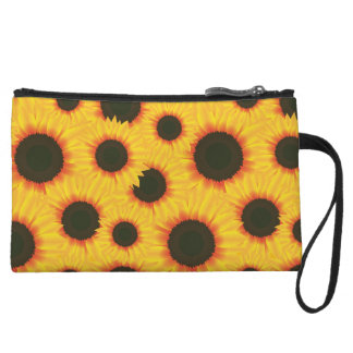 Spring colorful pattern sunflower wristlet clutches