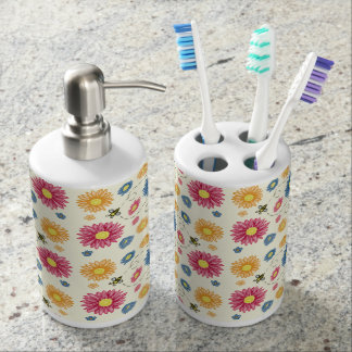 Spring Colors Soap Dispenser And Toothbrush Holder