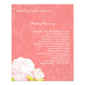 Spring Coral Reef Peony Wedding Programs (4.5x5.6) Flyer