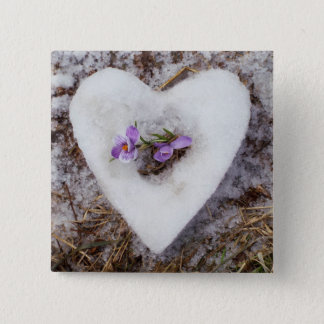 Spring crocus in snow heart photograph 2 inch square button