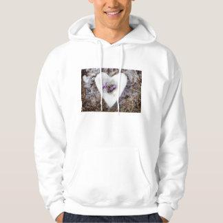 Spring crocus in snow heart photograph hoodie