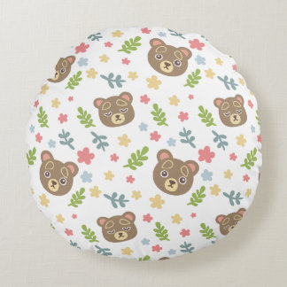 Spring Cute Bear Round Pillow