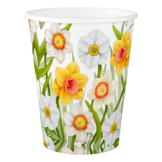 Spring Daffodil Flowers Paper Cups
