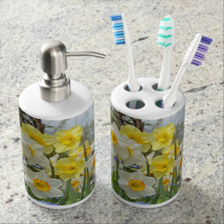 Spring daffodils soap dispenser and toothbrush holder
