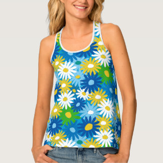 Spring daisies 70s inspired tank top