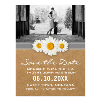 Spring Daisy Faux Paper Gray & White Save the Date Postcard