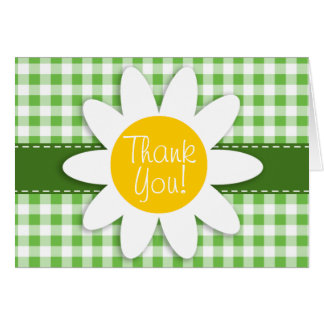 Spring Daisy; Green Checkered; Gingham Note Card