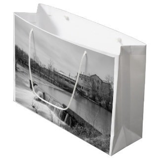 Spring Day At Ozark Mill Grayscale Large Gift Bag