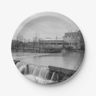 Spring Day At Ozark Mill Grayscale Paper Plate