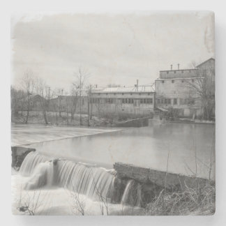 Spring Day At Ozark Mill Grayscale Stone Coaster