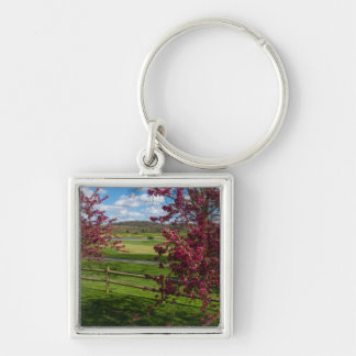 Spring Day In Rivercut Silver-Colored Square Keychain