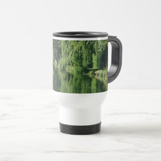 Spring day river walk pretty greenery and water travel mug