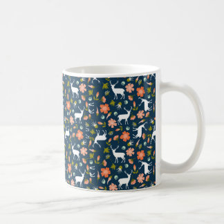 Spring Deer & Flowers Pattern Coffee Mug
