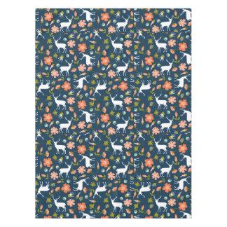 Spring Deer & Flowers Pattern Tablecloth