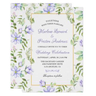 Spring Dreamy Purple Garden Watercolor Wedding Card