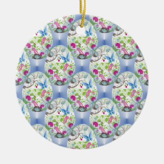 Spring Easter Egg Butterfly Flowers Vines Design Round Ceramic Ornament