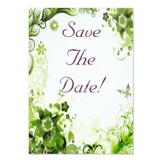 "Spring Emerald Green Floral Wedding Save The Date 5"" X 7"" Invitation Card"