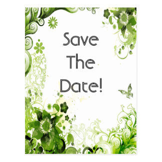 Spring Emerald Green Floral Wedding Save The Date Postcard
