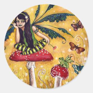 Spring faery round sticker