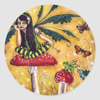 Spring faery classic round sticker