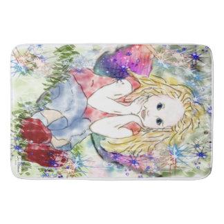 Spring Fairy girl sitting in meadow bathmat