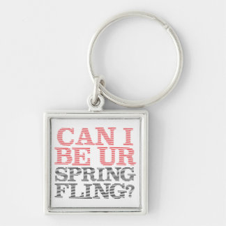 Spring Fling Silver-Colored Square Keychain