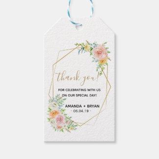 Spring floral blush gold Wedding Favour Gift Tag
