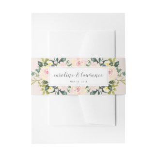 Spring Floral Blush | Wedding Belly Band Invitation Belly Band