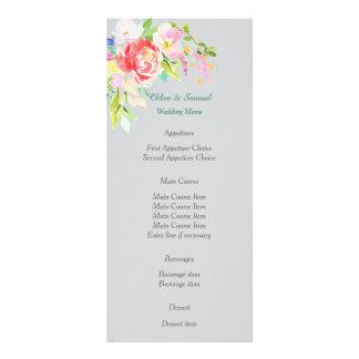 Spring Floral Bouquet Wedding Menu Custom Rack Card