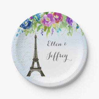 Spring Floral Bridal Shower wedding Eiffel tower 7 Inch Paper Plate