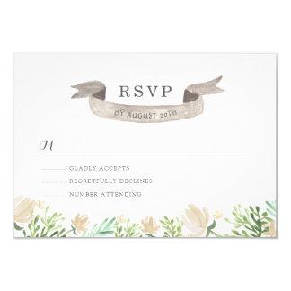 Spring Floral Crest Wedding RSVP Card