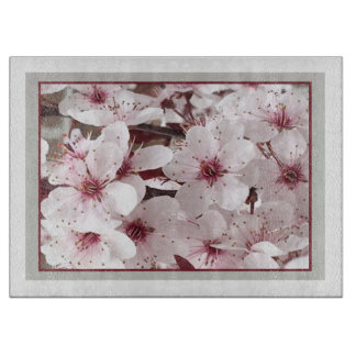 Spring Floral Cutting Board -Cranberry/White/Gray