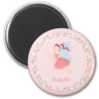 Spring Floral Fairy Girl Pink Personalized Magnet