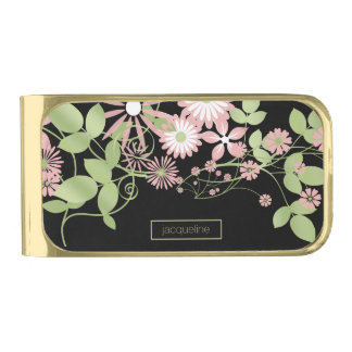 Spring Floral ID190 Gold Finish Money Clip