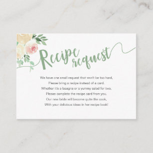 Spring Floral Mason Jar Shower Recipe Request Enclosure Card