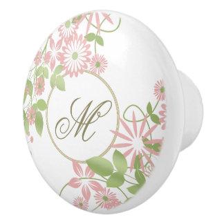 Spring Floral Monogram ID190 Ceramic Knob