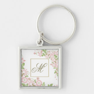 Spring Floral Monogram ID190 Silver-Colored Square Keychain