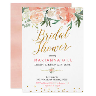 Spring Floral Romantic Bridal Shower Invitation