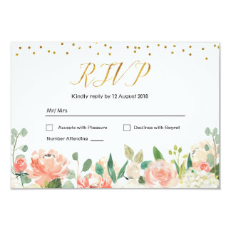 Spring Floral Romantic Wedding RSVP Card