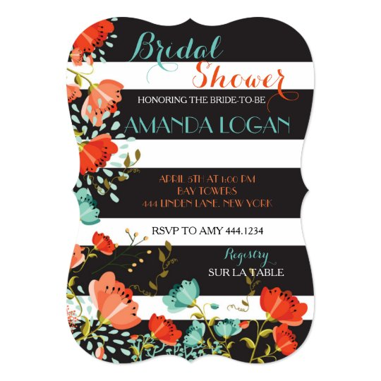 Spring Floral Striped Bridal Shower Invitations