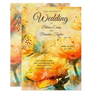 Spring Floral Watercolor Garden Wedding Invitation