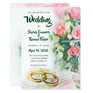 Spring Floral Watercolor Roses and Rings Wedding Card