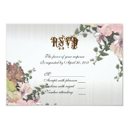 Spring floral wedding RSVP card