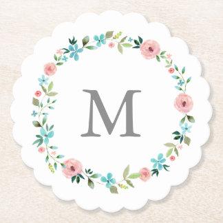 Spring Floral Wreath Monogram Paper Coaster