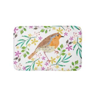 Spring florals and robin bird bathroom mat