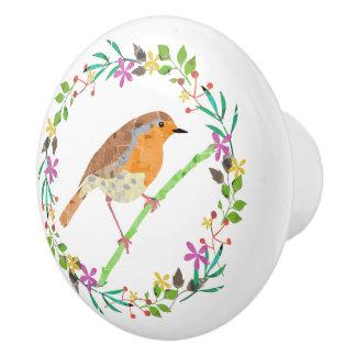 Spring florals and robin bird ceramic knob