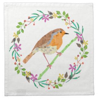 Spring florals and robin bird cloth napkins